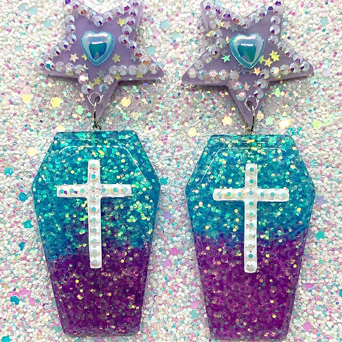 Teal & Purple Coffins
