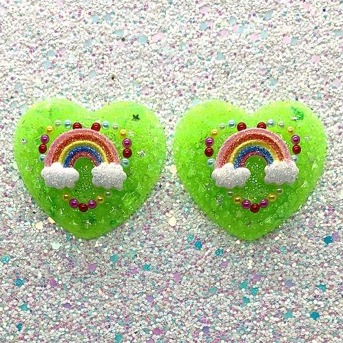 Lime Green Trixie Heart Cameos
