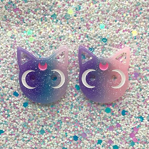 Blurple & Pink Moon Cat Studs