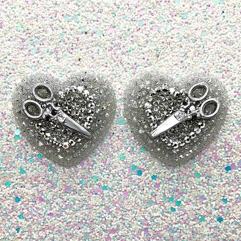Silver Scissor Trixie Hearts