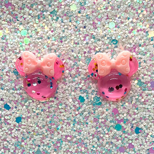 Pink Glitter Mouse Studs