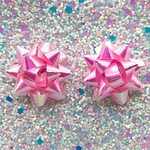 Actual Gift Bow Studs in Iridescent Pink