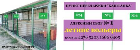 Сбор № 1 ЗАКРЫТ/ЛЕТНИЕ ВОЛЬЕРЫ Пункта передержки