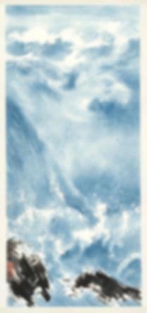 21.浪韻1987年93x41.5cm水墨設色紙本直幅。熊海,印:熊海寫意,熊海