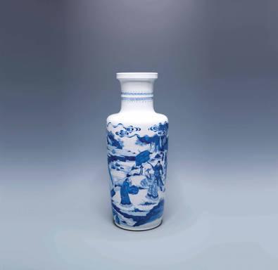 """青花""""文王遇賢""""圖寶字瓶"""