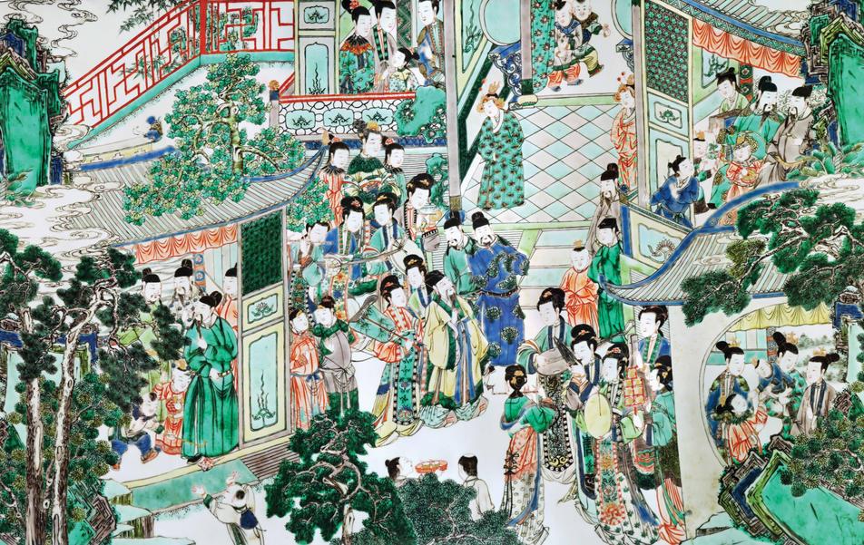 Large famille-verte rouleau vase featuring Guo Ziyi's Birthday Celebration
