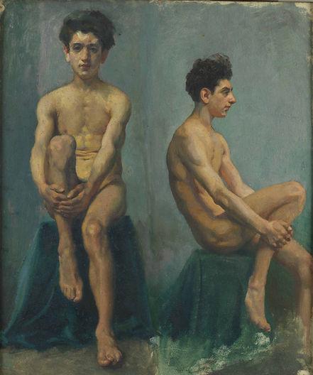 1、徐悲鸿  男人体正侧面速写  布面油彩   52×44cm   1924 中
