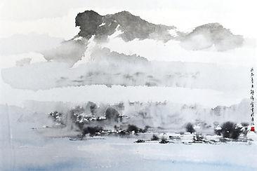 7.熊海.獅山雲霧,2018年29.5x41cm,水墨設色紙本,印:海.jpg