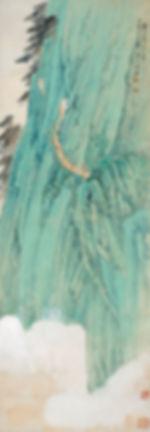 99、张大千  华山长空栈图  纸本设色  135×47cm  20世纪  中央