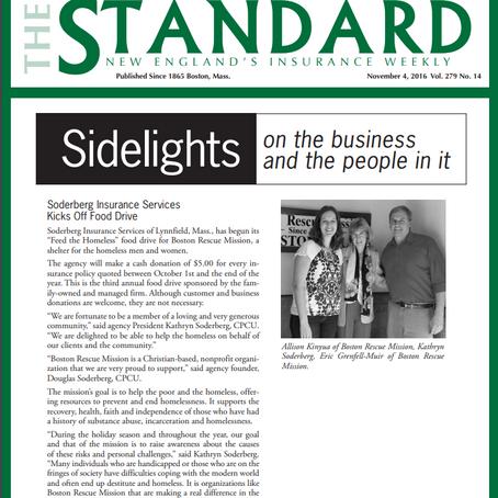 November 2016- Söderberg Insurance kicks off Food Drive The Standard