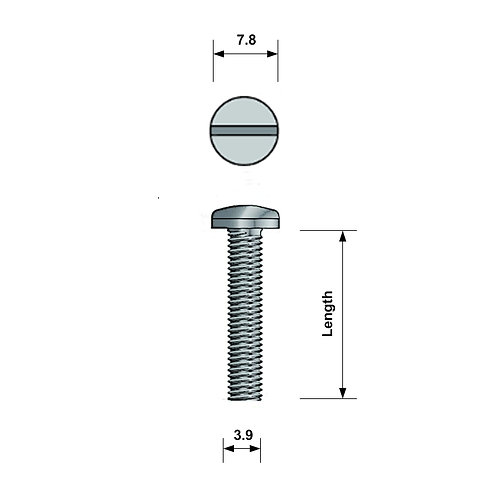 M4 Pan-Head Machine Screw A4 Stainless Steel Slotted