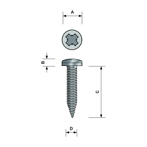 No. 8 Pan Head Self Tapping Screw A4 Stainless POZI