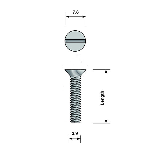 M4 Countersunk Machine Screw A4 Stainless Steel Slotted
