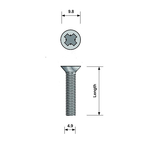 M5 Countersunk Machine Screw A4 Stainless Steel Pozi