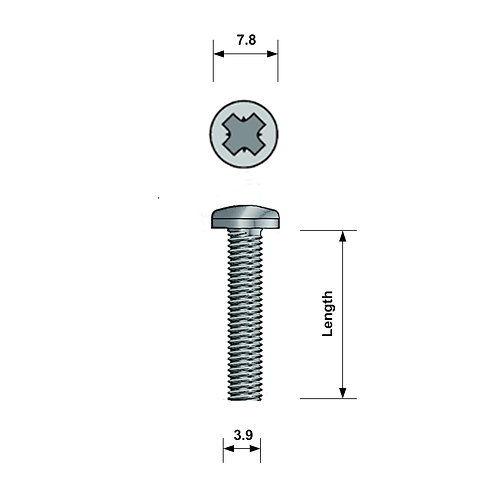 M4 Pan-Head Machine Screw A4 Stainless Steel Pozi