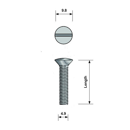 M5 Raised Countersunk Machine Screw A4 Stainless Steel Slotted