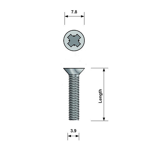 M4 Countersunk Machine Screw A4 Stainless Steel Pozi