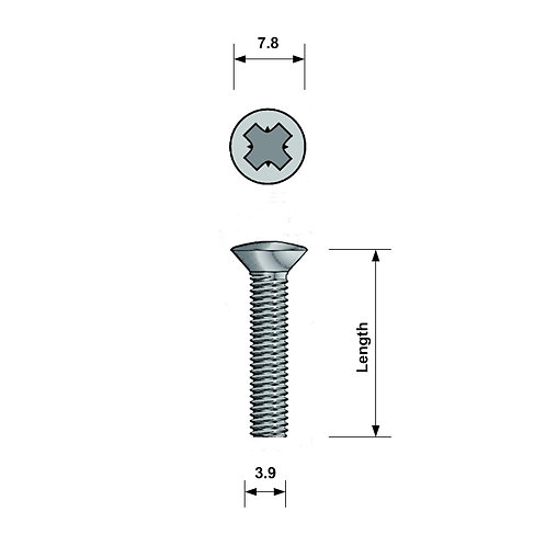M4 Raised Countersunk Machine Screw A4 Stainless Steel Pozi