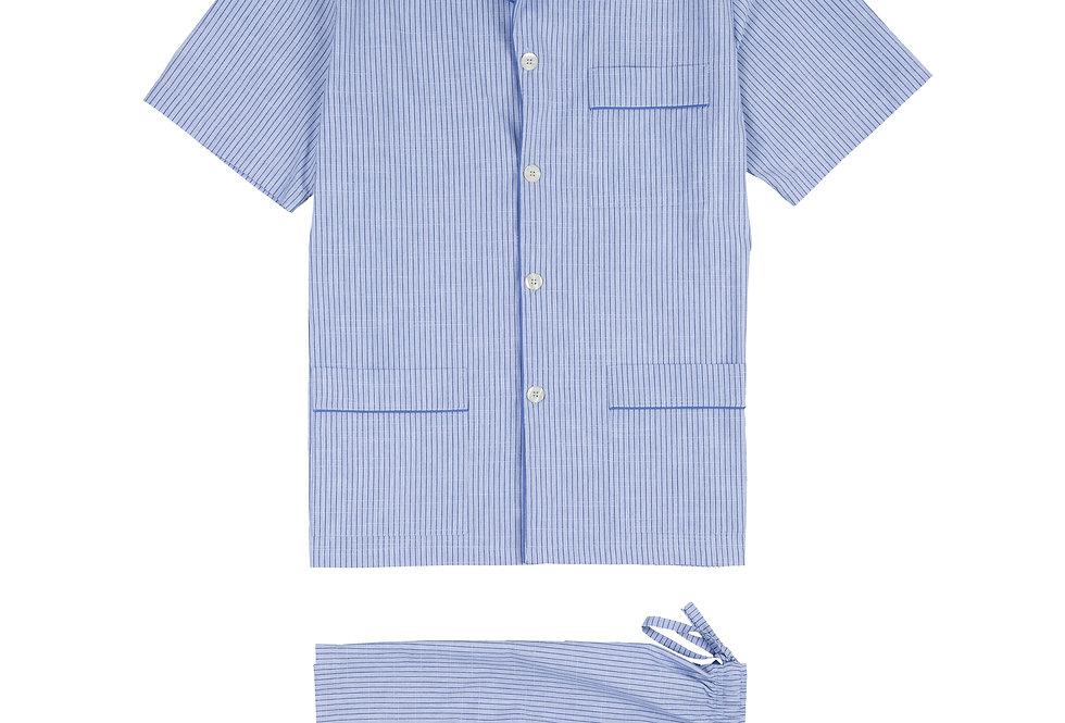 Pijama corto de hombre Kiff Kiff de tela azul con rayas finas