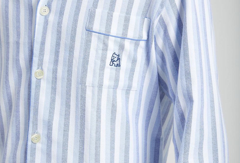 Pijama largo de hombre de tela de algodón tipo viyela con rayas