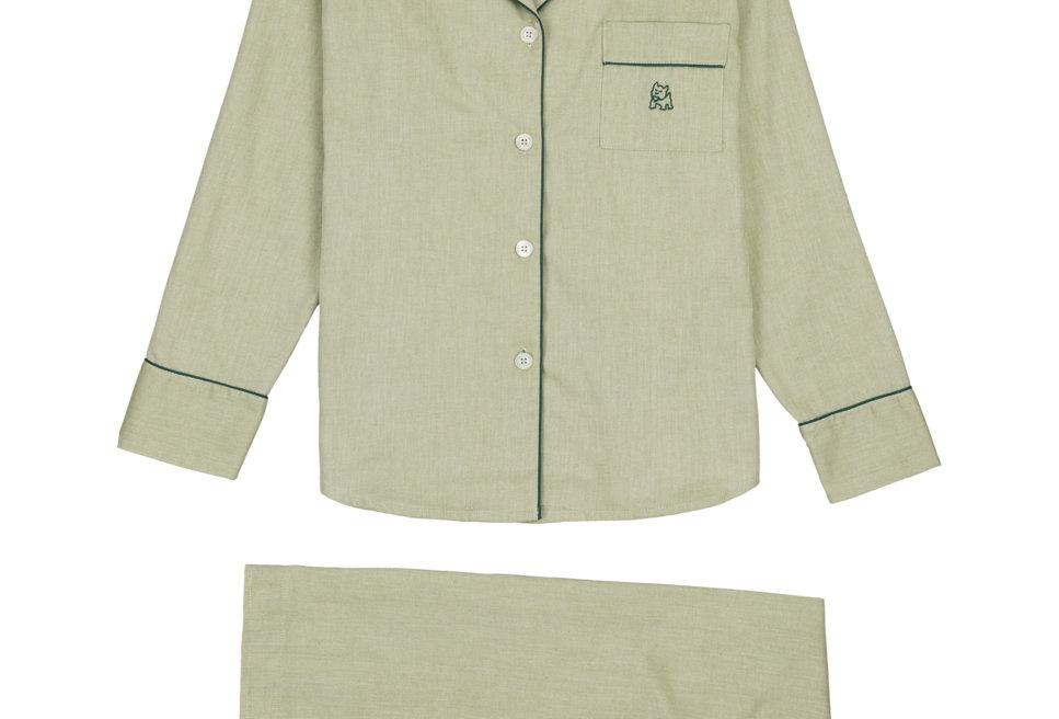 Pijama de mujer largo de algodón verde
