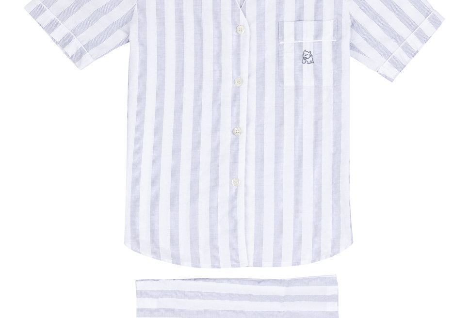 Pijama corto de mujer Kiff Kiff de tela blanca con rayas