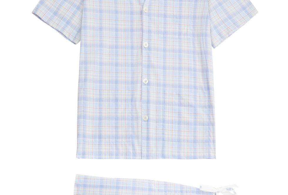 Pijama corto de hombre Kiff Kiff de tela con cuadros