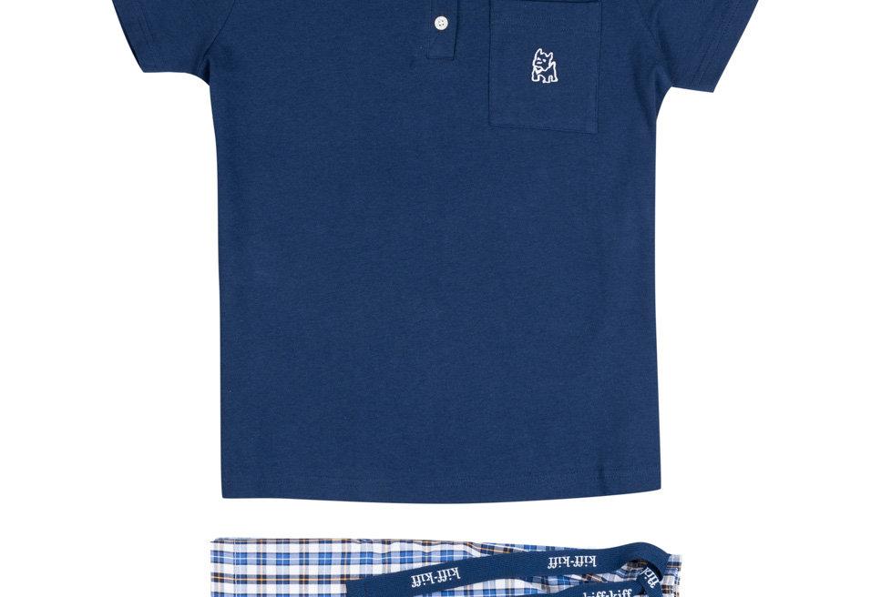 Pijama de niño corto combinado de algodón en color azul