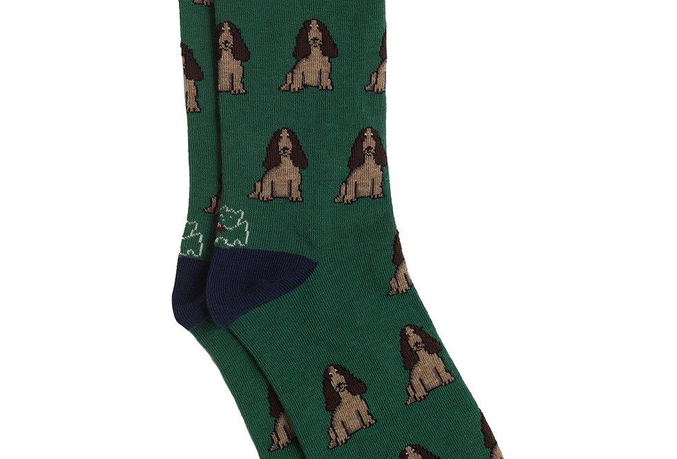 Calcetín media caña de algodón perro sentado verde