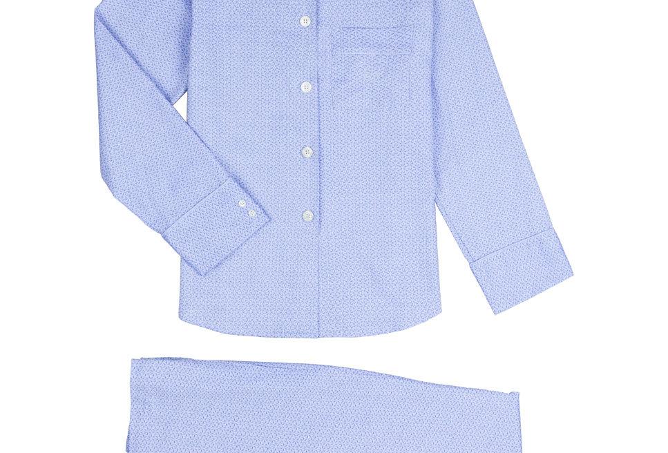 Pijama de mujer largo de algodón azul estampado