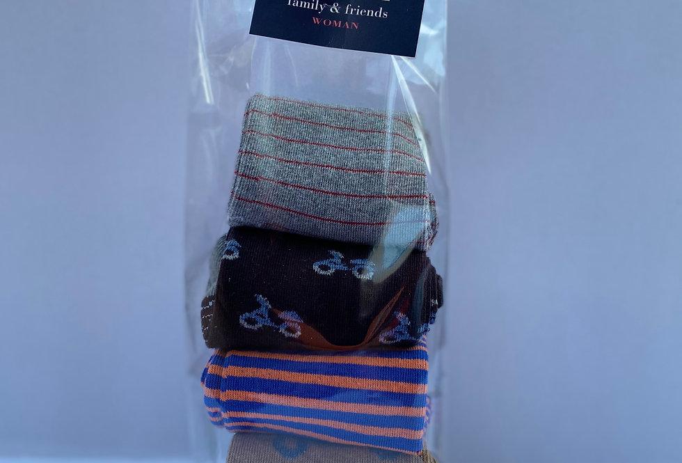 Pack de cuatro pares de calcetines media caña fantasía