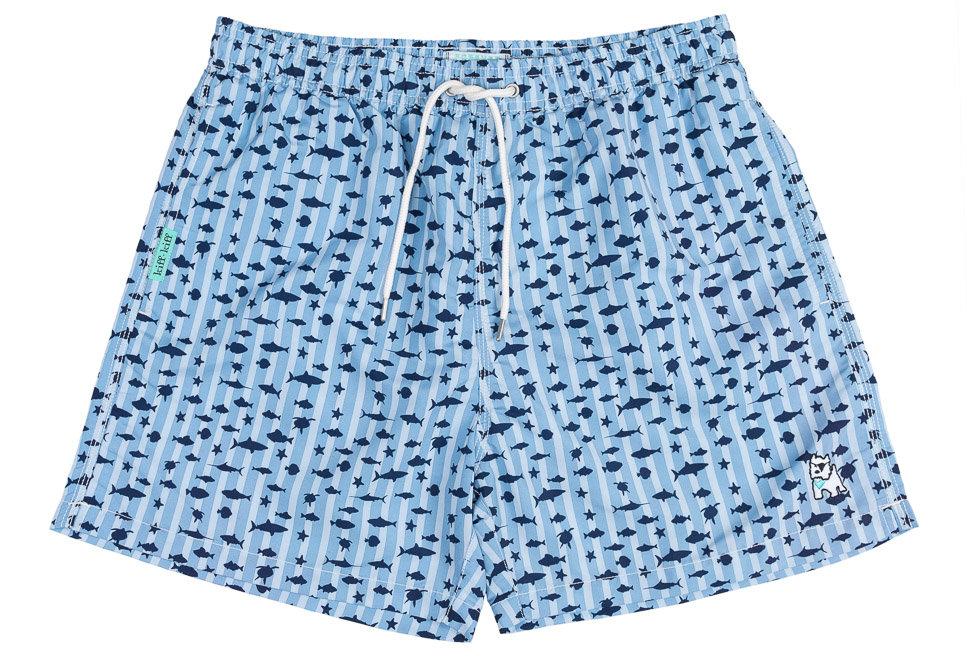 Bañador bermuda hombre Kiff Kiff azul claro de rayas con estampado Mundo Marino