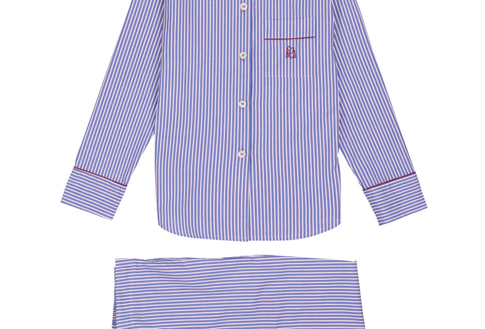Pijama de mujer largo de algodón con rayas azules