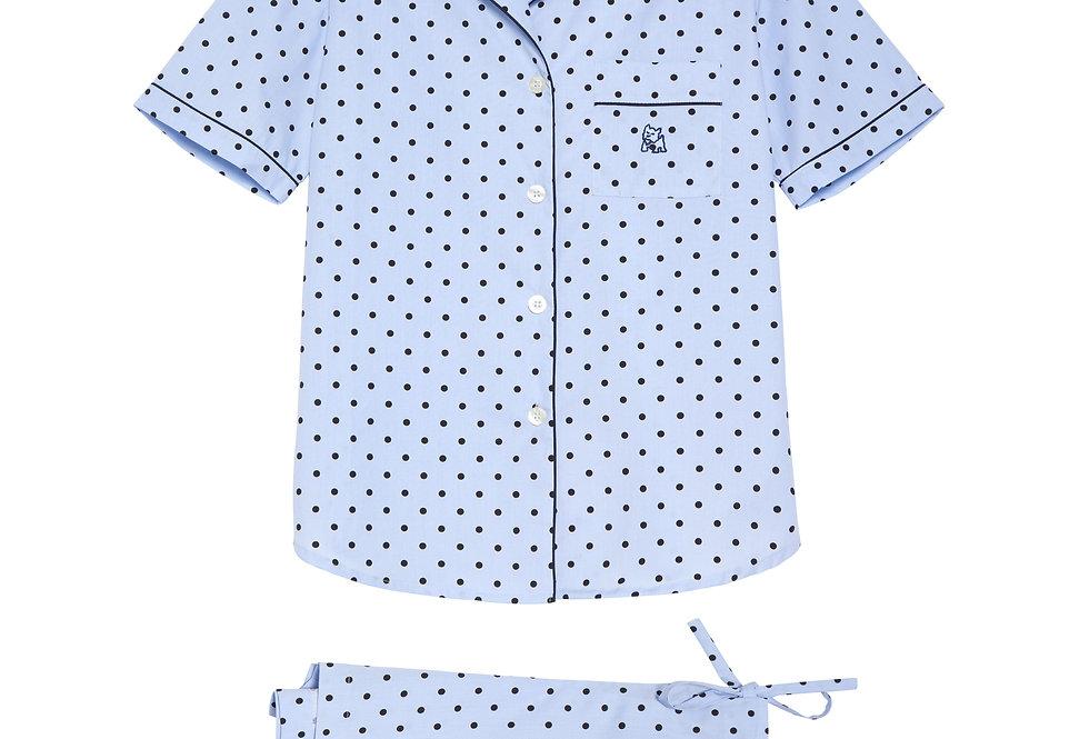 Pijama de mujer kiff kiff corto de topos azul