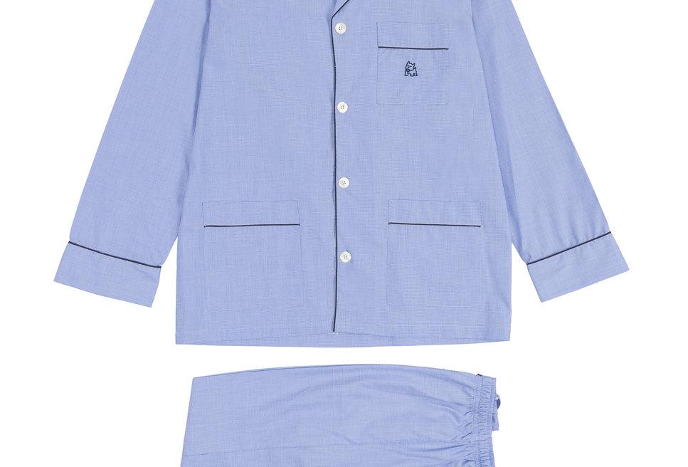 Pijama largo de hombre Kiff Kiff de tela azul