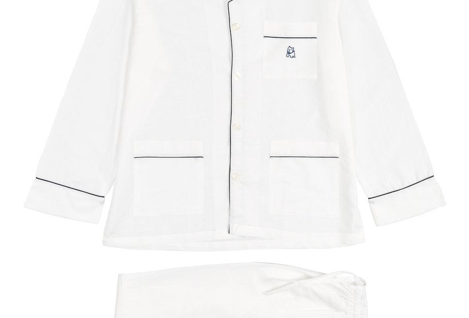 Pijama largo de hombre de tela de algodón blanco