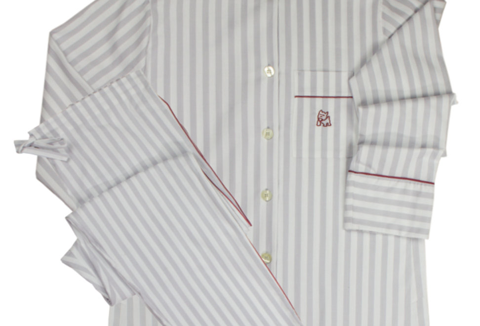 Pijama de mujer kiff kiff largo de tela rayas grises