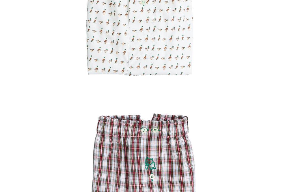 Pack de dos bóxer de tela de hombre Kiff Kiff patos/cuadro escocés