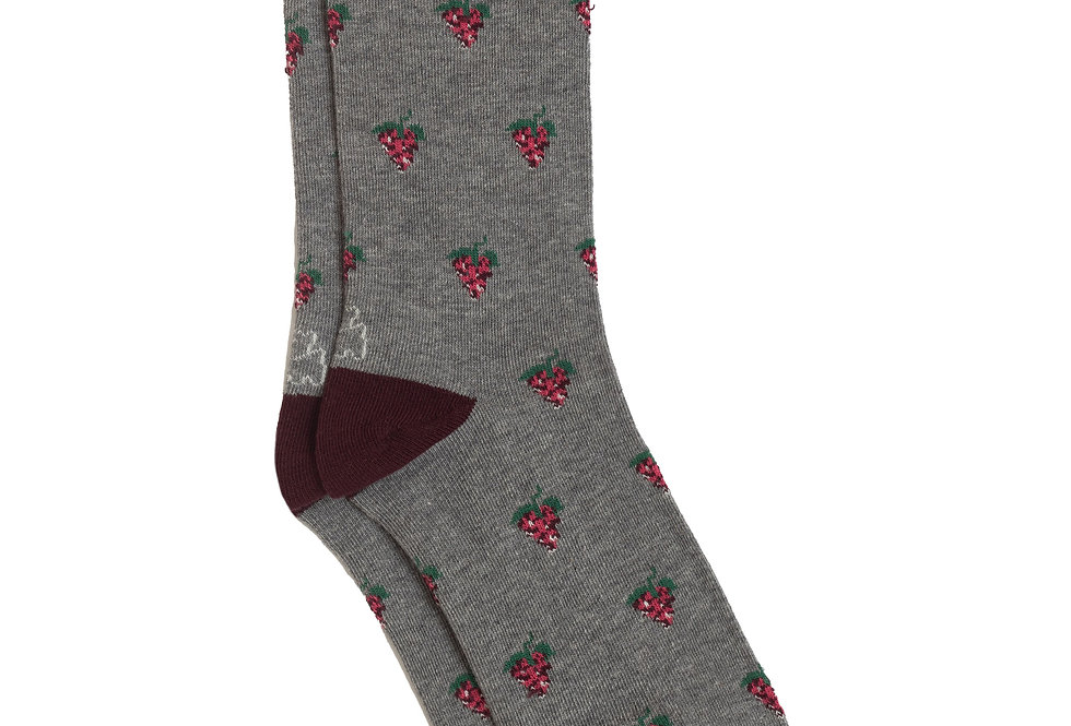 Calcetín media caña de algodón uvas gris