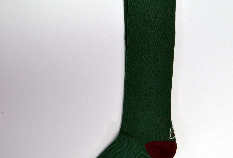 Calcetines caña alta de mujer Kiff Kiff canalé verde botella.