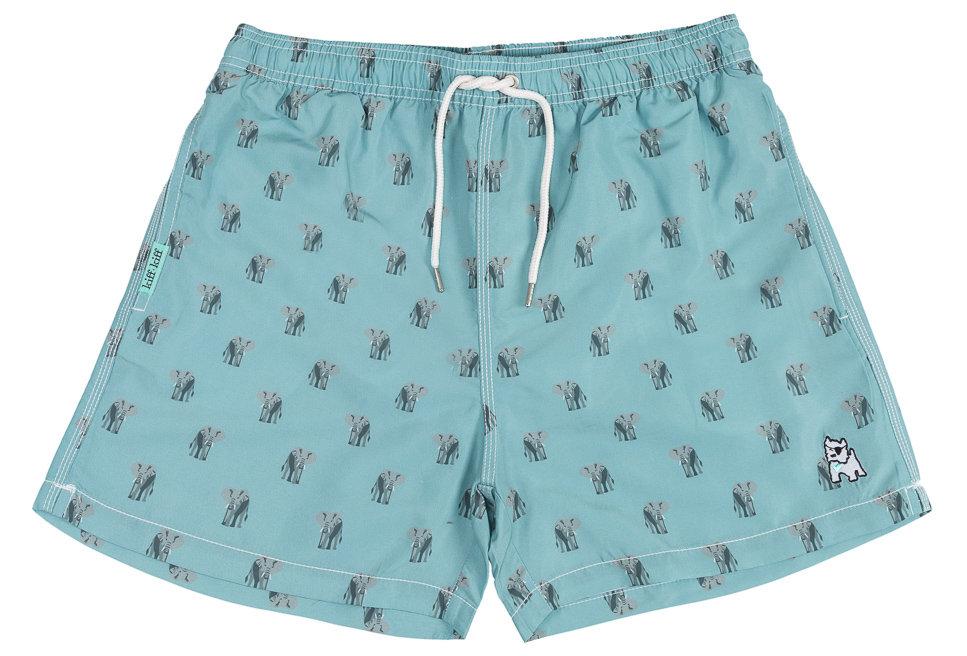 Bañador bermuda hombre Kiff Kiff verde con estampado de Elefantes
