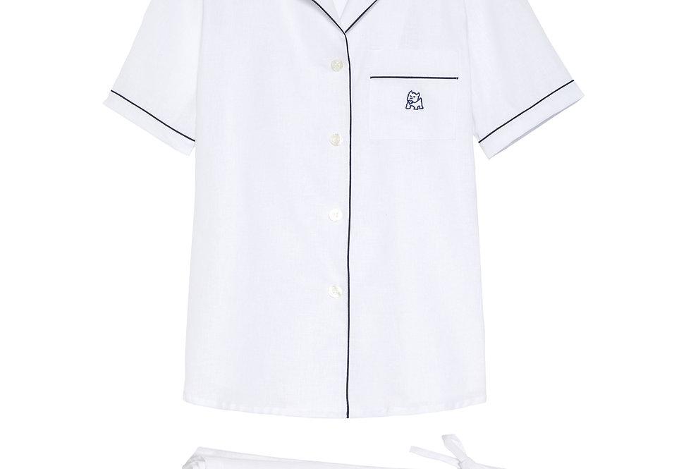 Pijama de mujer kiff kiff corto de lino blanco