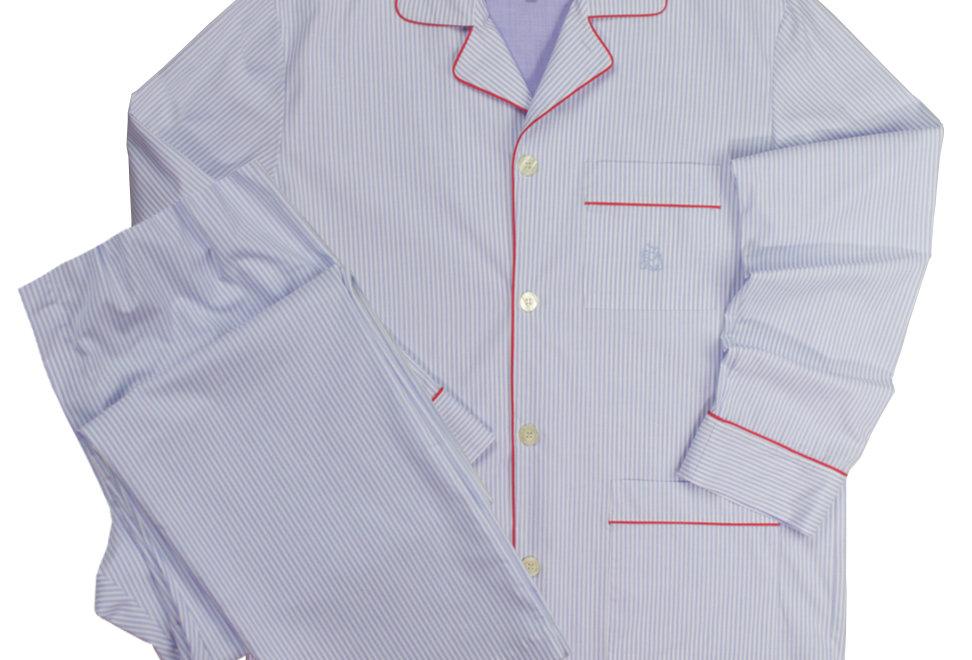 Pijama largo de hombre Kiff Kiff de tela con rayas azules