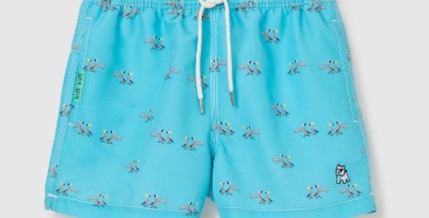 Bañador bermuda de niño azul claro estampado Papagayos