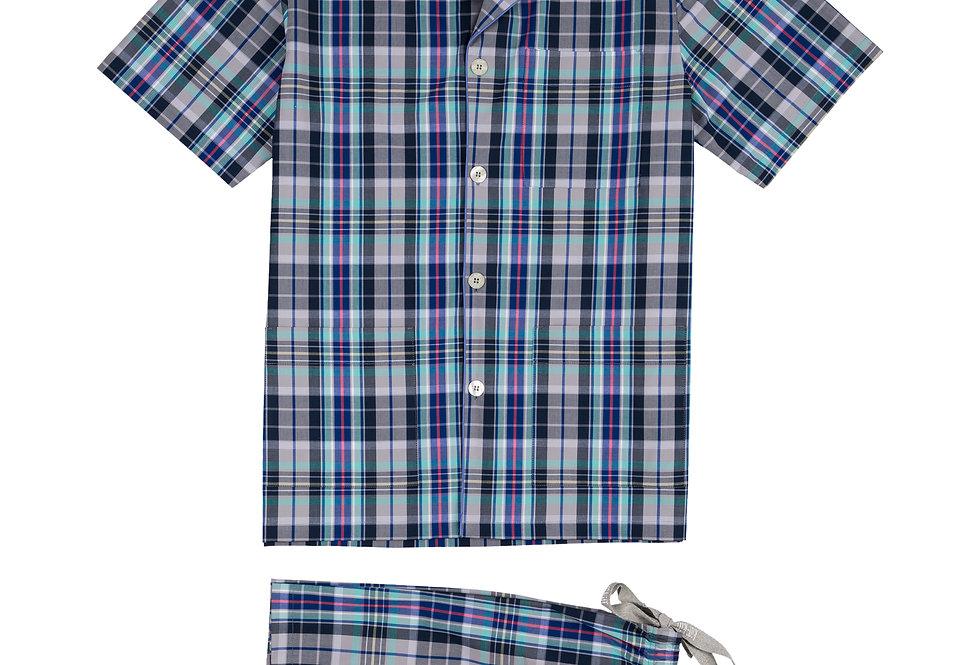 Pijama corto de hombre Kiff Kiff de tela de cuadros