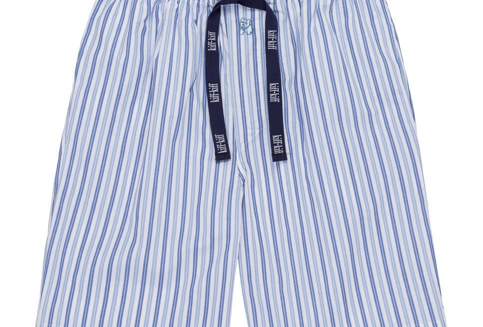 Pantalón de pijama corto de hombre Kiff Kiff de tela con rayas azules.