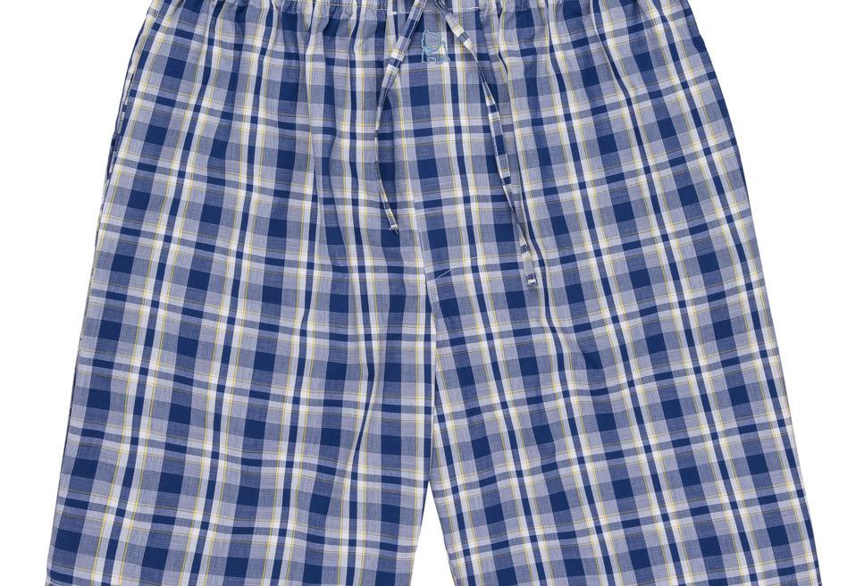 Pantalón de pijama corto de hombre Kiff Kiff de tela con cuadros azul y amarillo
