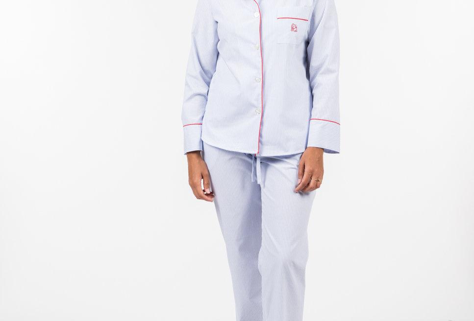 Pijama de mujer kiff kiff largo de rayas azules