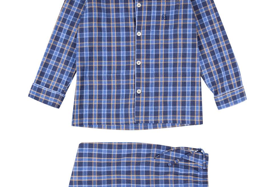 Pijama largo de hombre Kiff Kiff de tela  cuadros azul