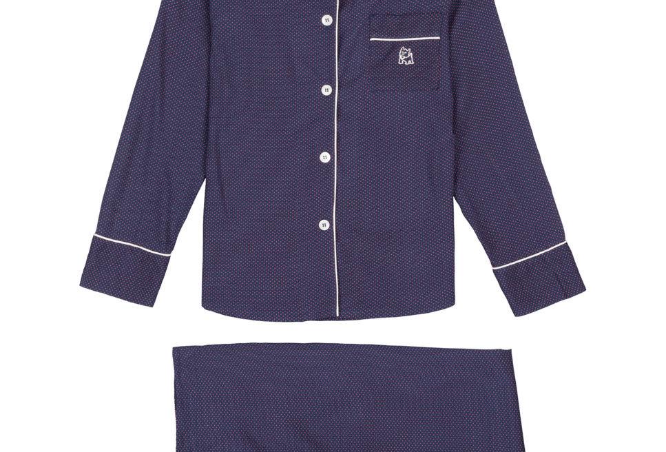 Pijama de mujer largo de algodón azul marino